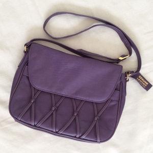 Vintage Purple Leather Crossbody Bag